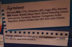 Dairy yoghurt with new December 2014 compliant allergen labelling