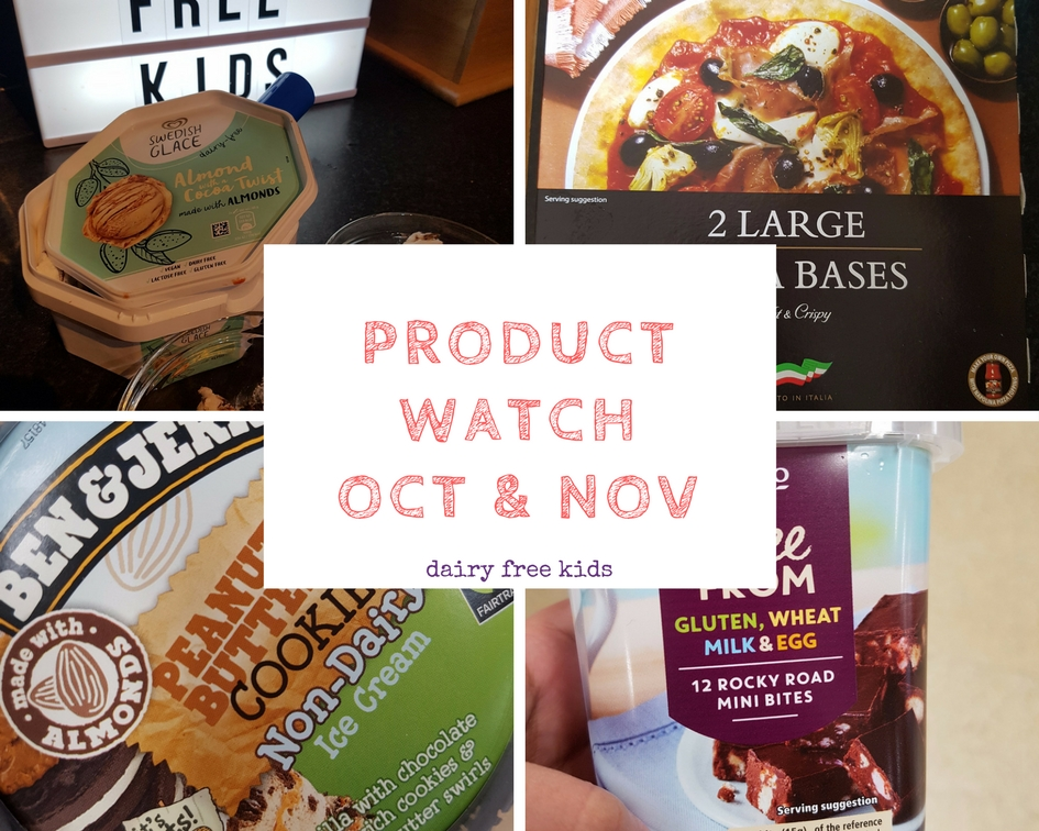 Dairy Free Product Watch - new free from products for October and November. Including ice-creams, pizza bases, pancake mix and Rocky Road!